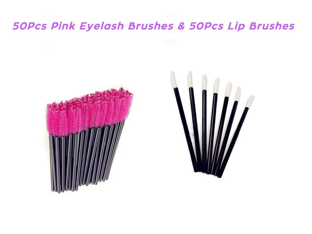 KINGLAKE Disposable Lip Brushes Mascara Wands 50 Pcs Pink Eyelash brushes + 50 Pcs Lipstick Gloss Wands Perfect Make Up Tool