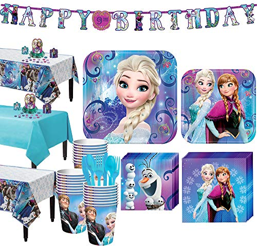Party City Frozen Tableware Party Supplies for 24 Guests, Include Plates, Napkins, Utensils, a Banner, and Decorations -