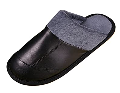 2a6391be6 Cattior Mens Fur Lined Leather Slippers Bedroom Slippers (6, Black)