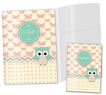U-Heft Hülle SET rosa Herzchen Schmetterling Elefant Cupcakes Impfpass mit Namen