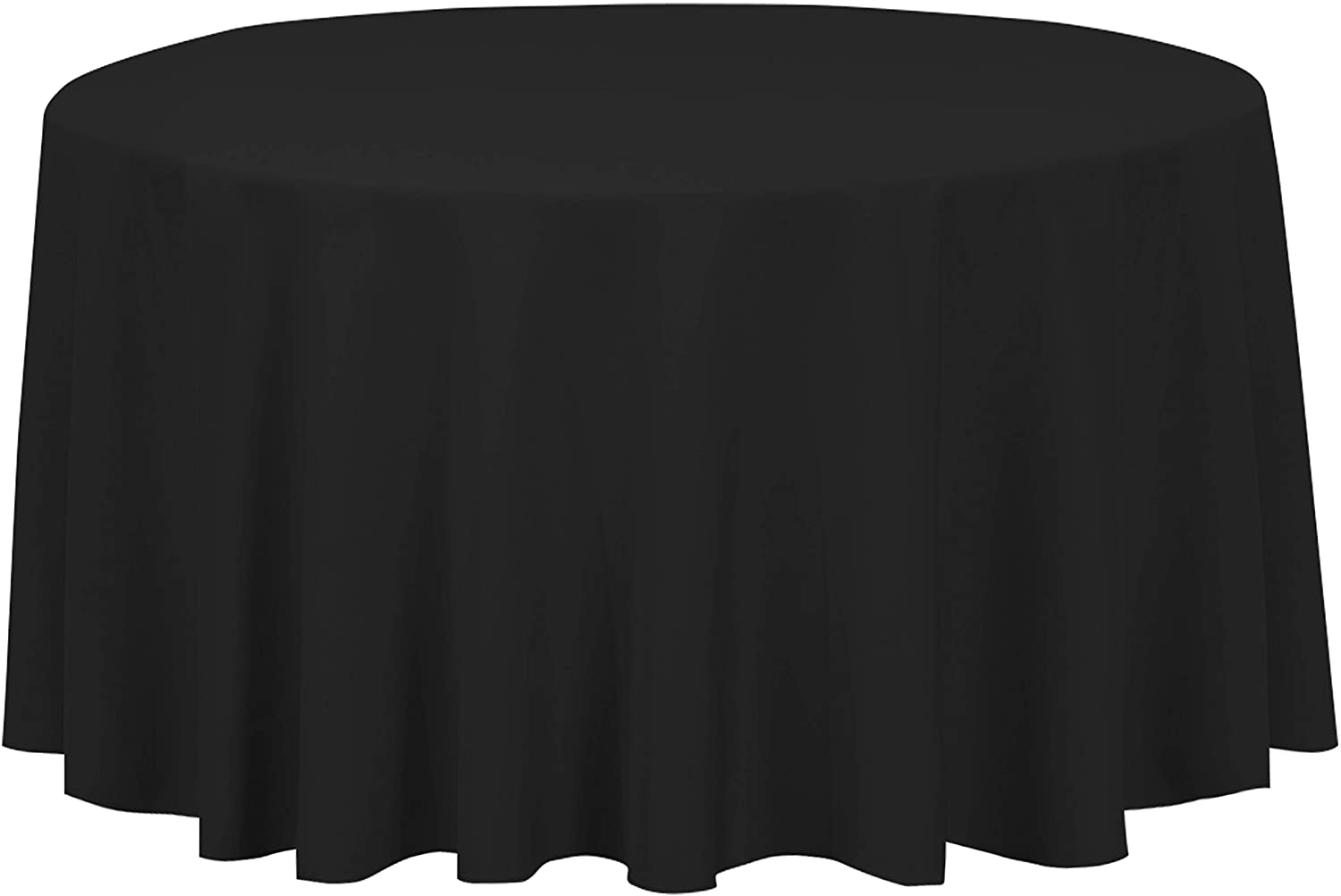 LinenTablecloth 120-Inch Round Polyester Tablecloth Black: Home & Kitchen