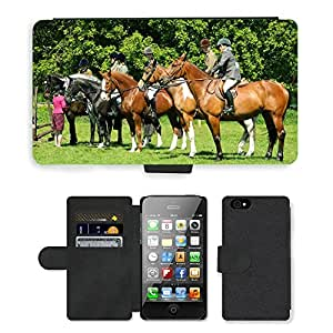 Hot Style Cell Phone Card Slot PU Leather Wallet Case // M00110166 Horse Rider Show Jumping Equestrian // Apple iPhone 4 4S 4G