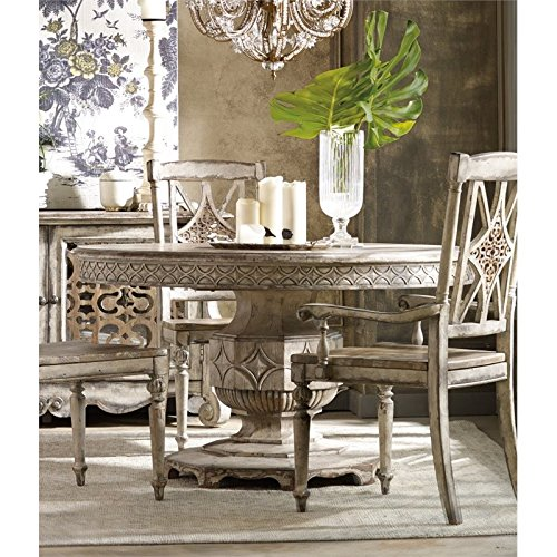 Hooker Chatelet Round Extendable Dining Table in Vintage White (Table Round Extendable Dining)