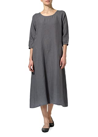 ab8739a42f Vivid Linen Elbow Sleeve Long Dress at Amazon Women s Clothing store
