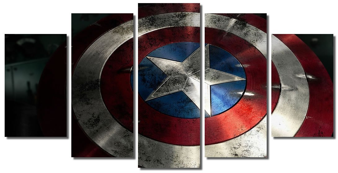 Picture Sensations Framed Canvas Art Print, Captain America Shield Marvel Avengers Age of ultron Super Hero - 60''x32''