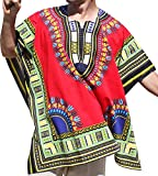 RaanPahMuang Brand Throw Over Poncho Top (Fully Open Sides) African Dashiki Art, Red