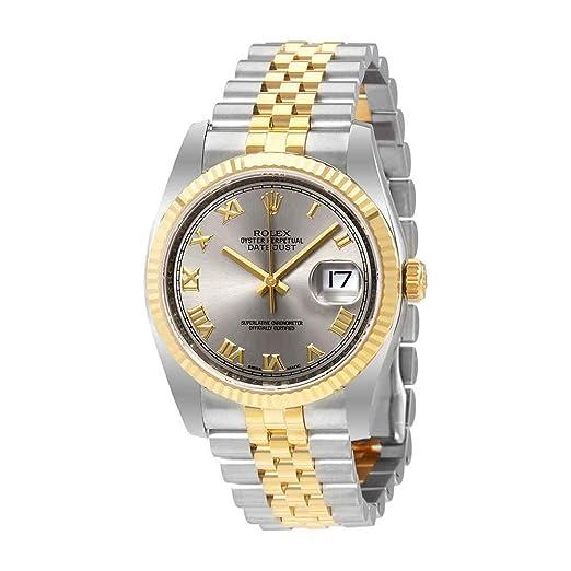 Rolex Datejust Rodio Dial Acero y 18 K amarillo oro Mens Reloj 116233rrj: Amazon.es: Relojes