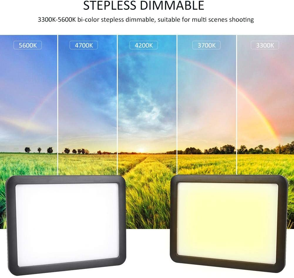 Black-US Plug Serounder Video Light Panel On-Camera LED Video Studio Fill Lamp with Tripod Ball Head for Shooting Interview Dimmable Bi-Color 3300K-5600K Color Temperature CRI95