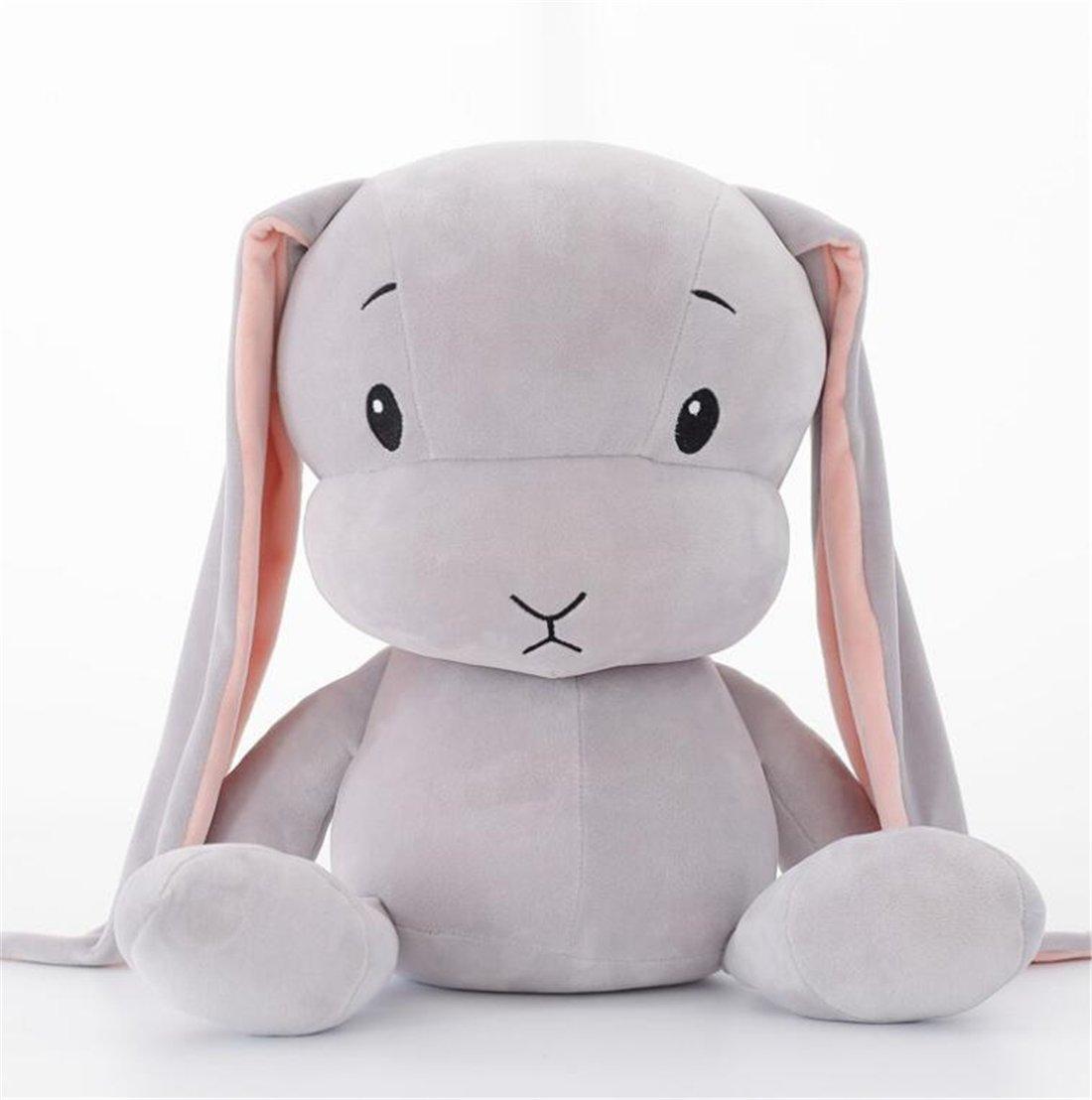 Tmrow 1pc Cute Rabbit Stuffed Plush Animal Toy Soft Doll Cushion Pillow Pet for Kids Gift Gray