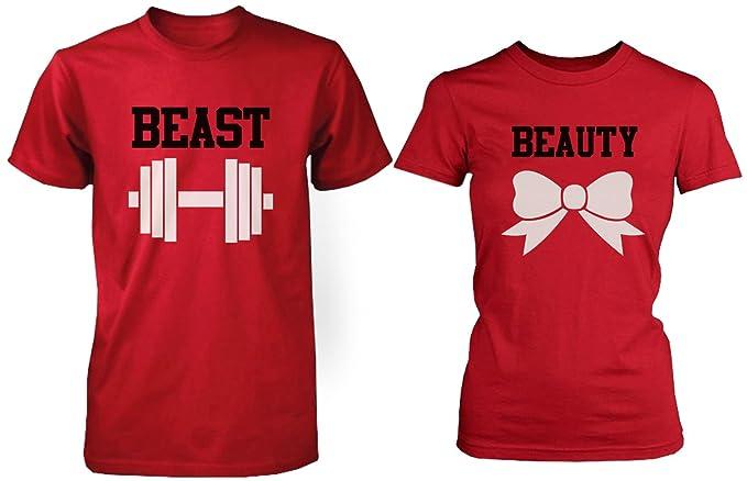 Belleza y la bestia – para su y su a juego rojo camisetas para parejas