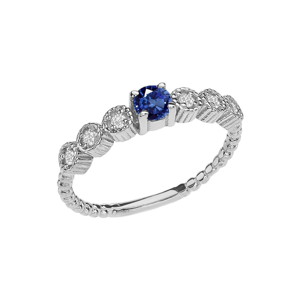 10k Diamond Stackable/Promise Beaded Popcorn Collection Ring in White Gold With Genuine Sapphire Center Stone (Size 4.25)