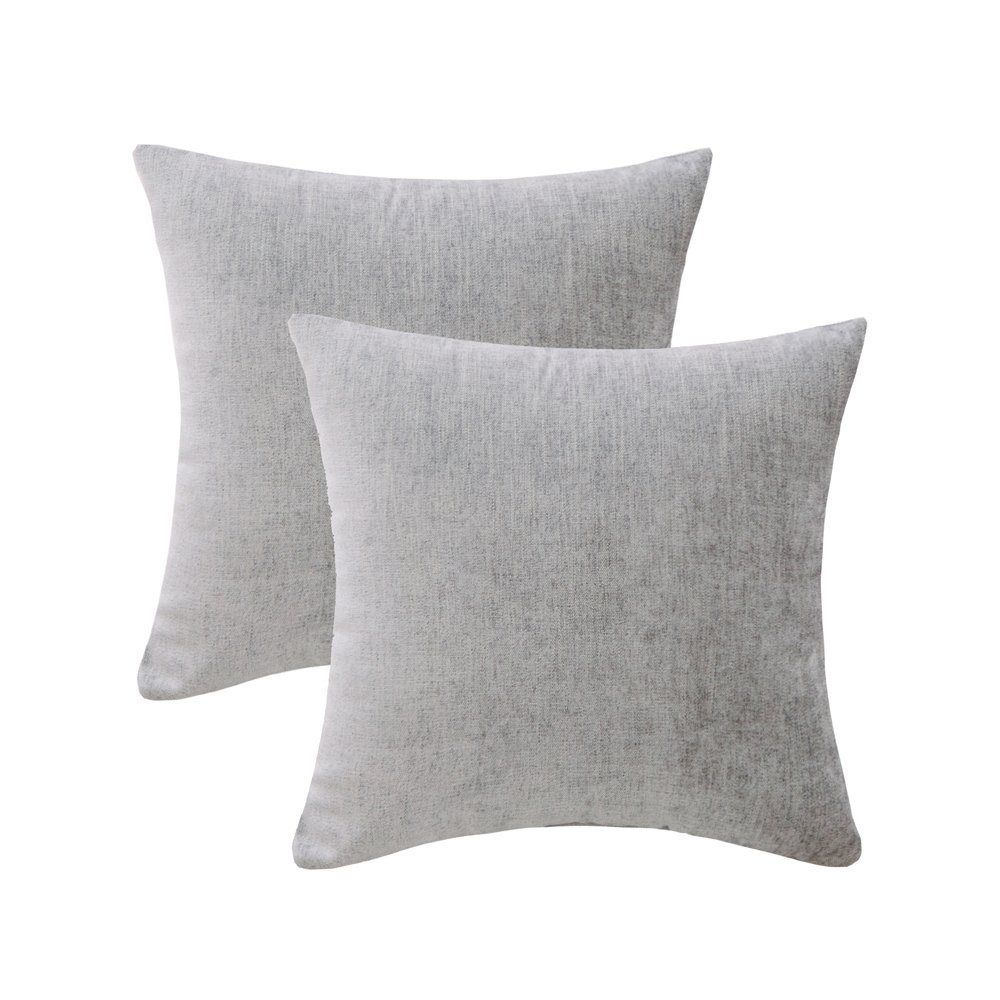 HWY 50 Grey Throw Pillows Covers For Couch Sofa Bed 18 x 18 inch, Pack of 2 Soft Comfortable Natural Cotton And Linen Decorative Throw Pillows Cases, Euro Gray Decor Cushion Covers