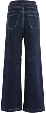 Stylish Wide Leg Jeans Causal Loose Belted Trousers Pants for Women