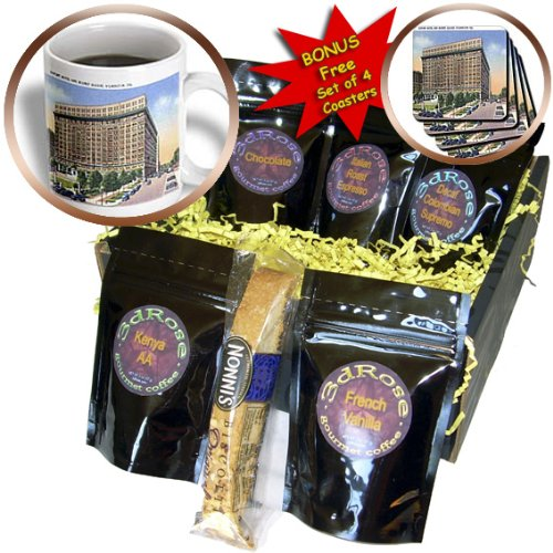 BLN Vintage US Cities and States Postcard Designs - Dupont Hotel and Rodney Square, Wilmington, Delaware - Coffee Gift Baskets - Coffee Gift Basket - De Us Wilmington