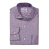 Alex Vando Men's Regular Fit Long Sleeve Dress Shirts,Blue/Red,17.5 34/35