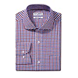 Joey CV Mens Long Sleeve Dress Shirts Cotton Casual Regular Fit Shirt(Red Plaid, 16.0 32/33)