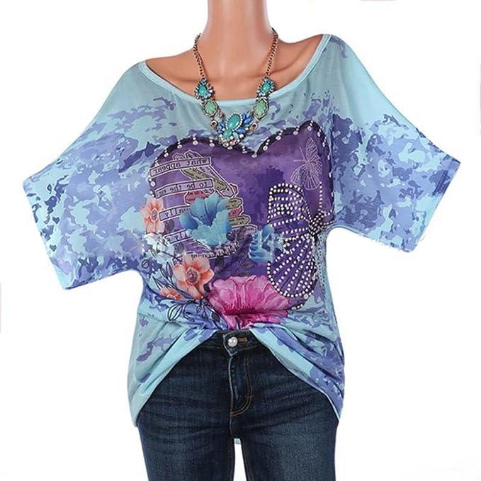 Hibasing Camisa Suelta Blusa Holgada con Mangas Cortas Blusa con Estampado de Flores Blusas Tallas Grandes