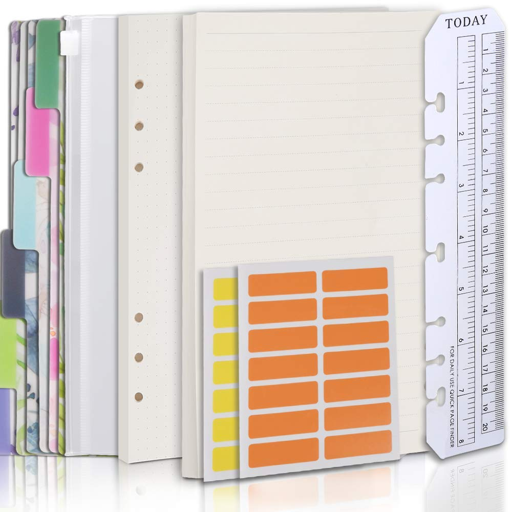 Teenitor Refillable A5 Notebook Set - 6-holes Loose-leaf Dotted Paper, Lined Paper, 6 Pcs PVC Binder Index Dividers, Zip Lock Envelope, Ruler and 28 pcs Sticky label, Binder Planner Refill Paper Ruled