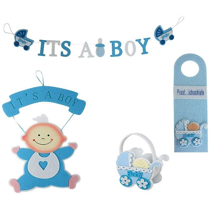 Wandh/änger Girlande Willkommen Geburt Deko und Geschenkset Baby Its A Boy Annastore 4-TLG