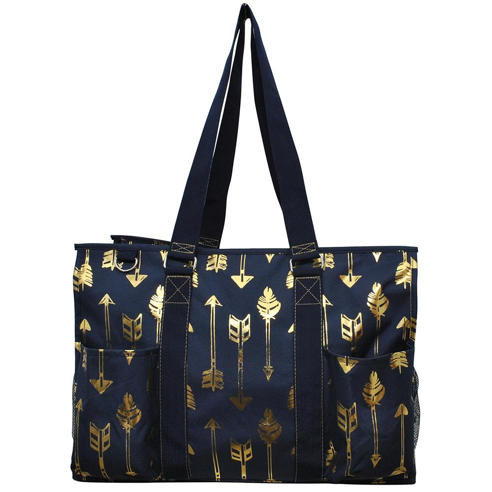 NGIL All Purpose Organizer 18'' Large Utility Tote Bag 2018 Spring Collection (Gold Arrow Navy Blue)