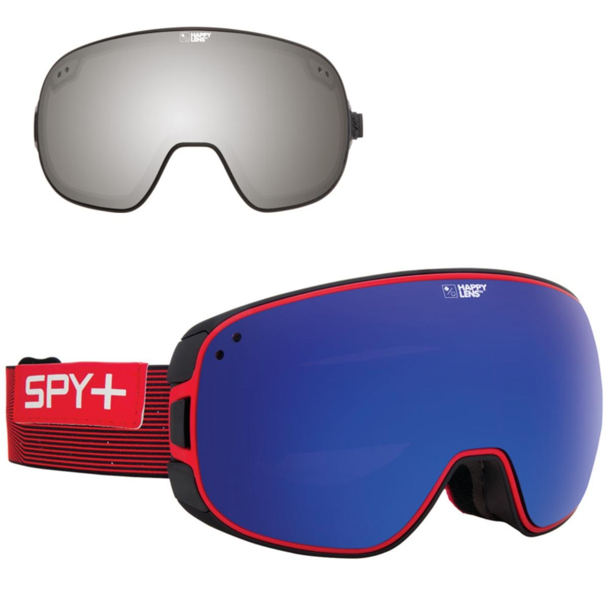 Spy Optic Galactic Red Happy Bravo Winter Sport Racing Snowmobile Goggles, Bronze w/ Dark Blue Spectra, One Size