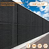 Sunshades Depot 6' FT x 12' FT Solid Black Breathable Vinyl Coated Polyester Mesh Fence Screen Residential Commercial Privacy Fence Screen Custom Available 3 Years Warranty 280 GSM 80% Blockage