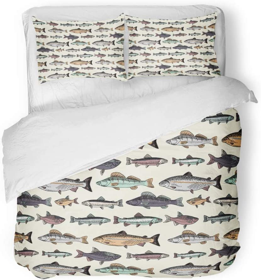 Emvency 3 Piece Duvet Cover Set Brushed Microfiber Fabric Breathable Blue Fish with Vintage Fishes Drawing Salmon Trout Fishing Drawn Carp Cartoon Bedding Set with 2 Pillow Covers Full/Queen Size