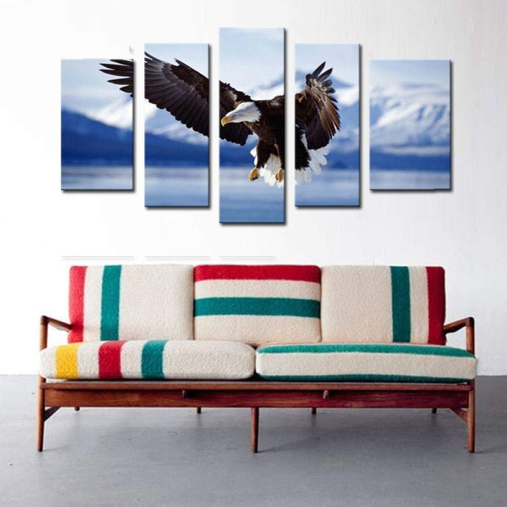 Canvas Wall Art for living room bathroom Wall Decor for bedroom kitchen artwork Canvas Prints flying eagle painting 5 Pieces Modern framed office Home decorations family picture A-With-frame