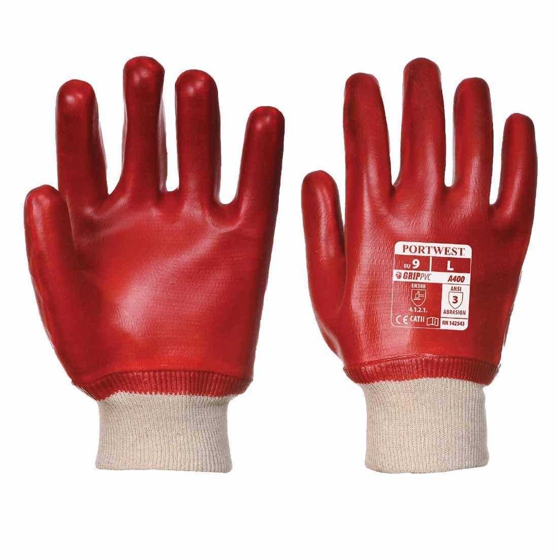 Portwest A400 PVC Knitwrist Work Gloves Red XL