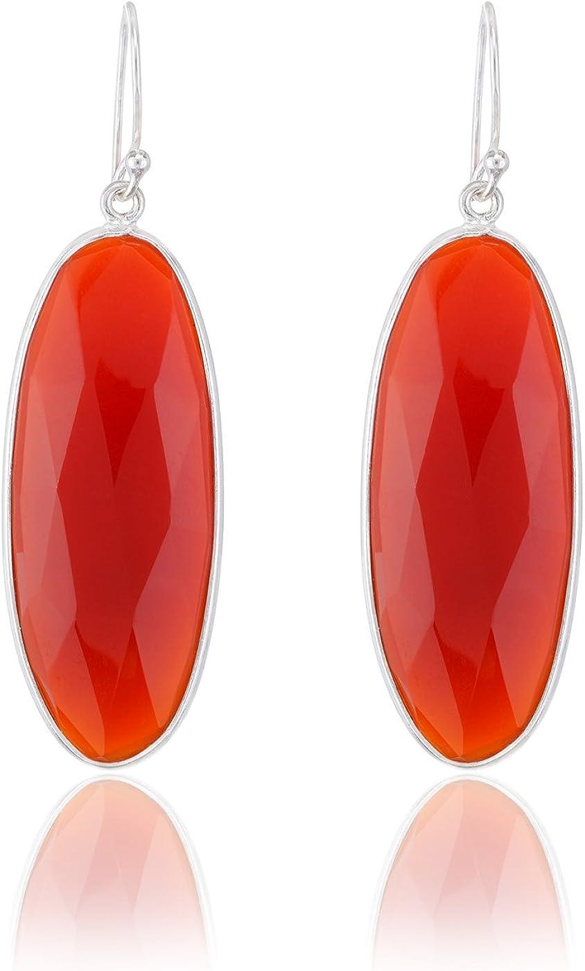 Diseño actual Aarohee de plata de ley ovalado largo naranja piedra resulta pendiente para el Coral para mujer AAU140
