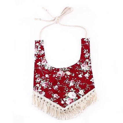 homeofying algodón rayas halter estampado floral Flecos Babero triángulo toalla para bebé Niños mixto Talla: