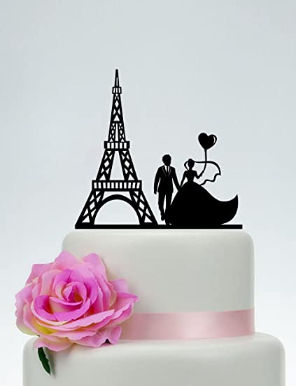 Amazon.com: Wedding Cake Topper Eiffel Tower Groom And Bride Love ...