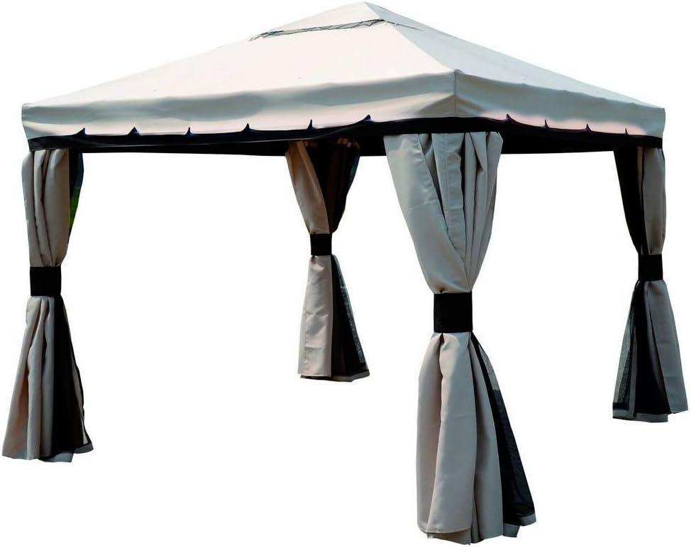 BAKAJI Carpa 3 x 4 Metros Estructura allumio Modelo Passion con Toallas Laterales Palo de 80 mm Color Crudo: Amazon.es: Jardín