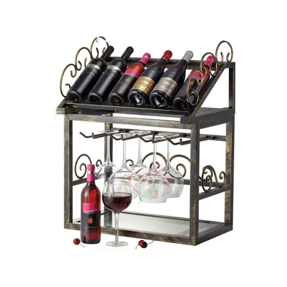 FENGFAN-Wine Rack Glass Holder Metal Kitchen Restaurant Bar Decoration 6 Bottles Vintage Storage Display Stand
