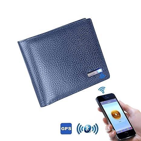 nuovo concetto 9a260 597b7 Portafoglio Smart, Leegoal GPS Tracking anti-Lost portafoglio Bluetooth con  pelle cuoio per gli uomini (Blu)