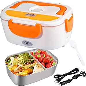 Electric Lunch Box Food-Grade Stainless Steel Container for Car and Home 110V & 12V 40W, Portable Food Warmer Heater 1.5L, Spoon and 2 Compartments Included
