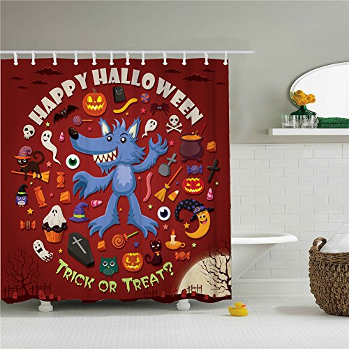Happy Halloween Party Trick Or Treat Shower Curtains,Polyester Waterproof Shower Curtains 12 Hooks Included-69