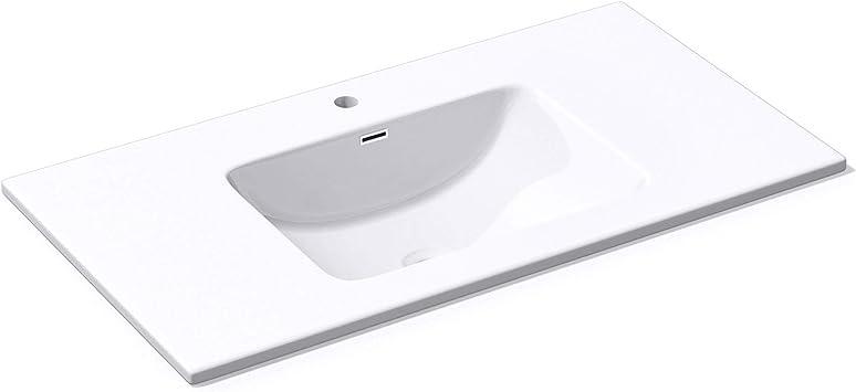 Mai /& Mai Einbauwaschbecken Colossum02-900 90x48x12cm Design Waschbecken aus Gussmarmor in Wei/ß BTH