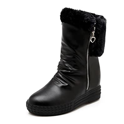 Women's Soft Material Zipper Closed Round Toe Kitten-Heels Low-top Boots