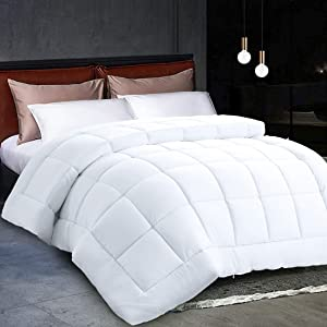 Comforter King Size White All Season Reversible Down Alternative Duvet Insert with Corner Tabs - Hotel Quality Winter Warm Soft Comforter and Hypoallergenic - Luxury Hotel Collection 1800 Series