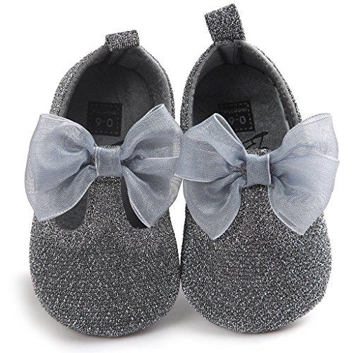 Top-Sell Los Niños Lindo Infantil Decoración Del Arco Del Bebé Zapatos Anti Deslizamiento Suavemente Único Prewalker Plata