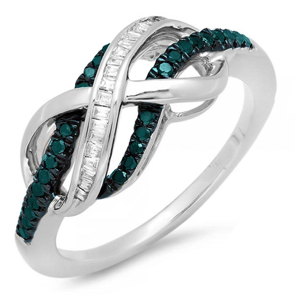 0.20 Carat (ctw) Sterling Silver Blue & White Diamond Ladies Infinity Wedding Ring 1/5 CT (Size 8.5)