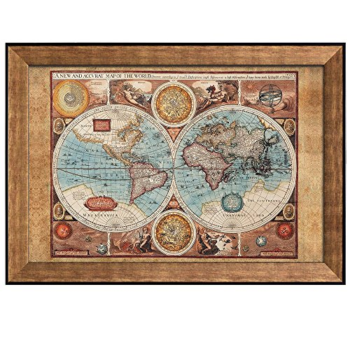 wall26 - Antique Hemisphere Map of The World with The Elements - Framed Art Prints, Home Decor - 24x36 inches ()