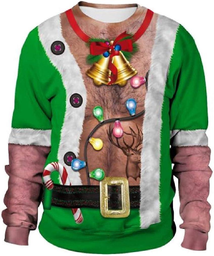 Cromoncent Mens Christmas 3D Printed Unisex Long Sleeve Pullover Sweatshirts