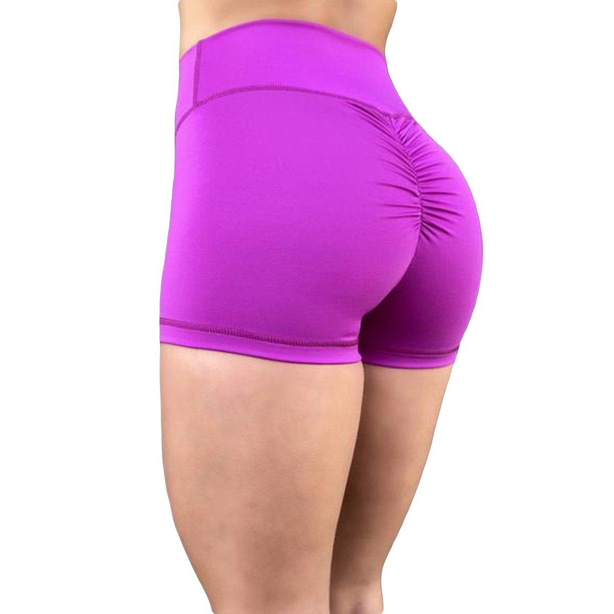 Nhiswsgt Pantaloncini Sportivi da Allenamento a Vita Alta con Vita Alta e Attillati