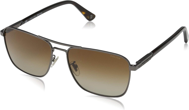 [男性用サングラス]Police Men's WESTWING 3 Sunglasses, Shiny Gun Metal/Brown, One Size[並行輸入品]