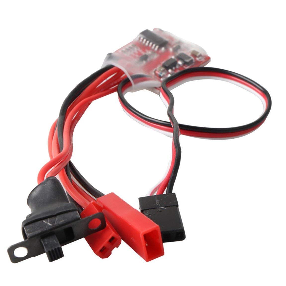 73JohnPol Synthetic 30A Mini Brushed ESC Brush Controlador electr/ónico de Velocidad del Cepillo de Freno bidireccional para Coche RC Color: Rojo