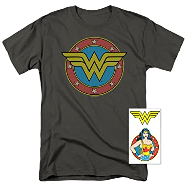 2aa16f0528dd3 Wonder Woman Vintage Logo DC Comics T Shirt   Exclusive Stickers (Small)  Charcoal