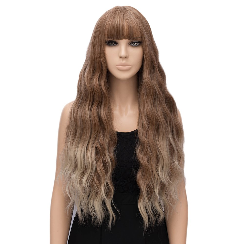 netgo Women Strawberry Blonde Ombre Light Blonde Wigs with Bangs Natural Wave Long Curly Heat Resistant synthetic Wig 30''