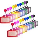 Creatiee 20Pcs PU Leather Business ID Credit Card Badge Holder with Retractable Badge Holder Reel Clip (Horizontal…